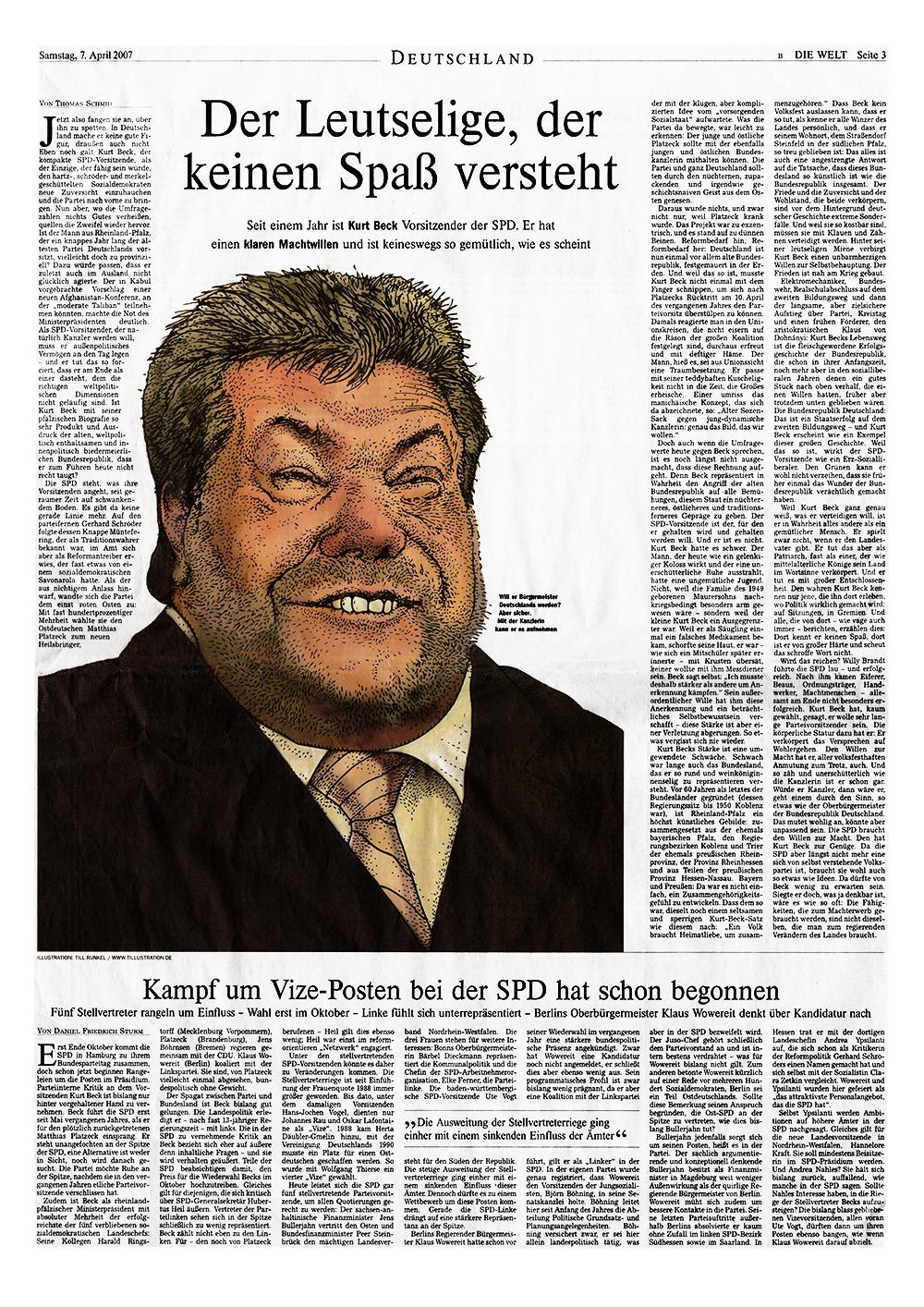 Zeitungskarikatur mit SPD-Politiker Kurt Beck erschienen in der Osterausgabe DIE WELT 2007