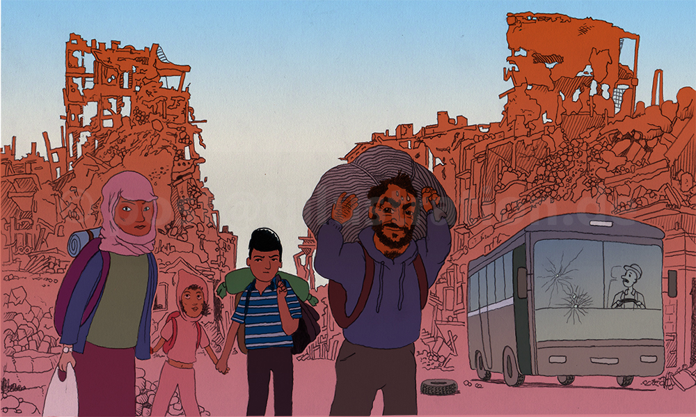 Eine Familie verläßt ihre völlig zerbomtete Heimatstadt
