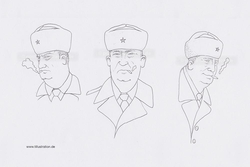 The Outtakes: Dies sind die Skizzenentwürfe des Charakterdesigns Des Graphic Novels 'Die 25.ste Stunde'