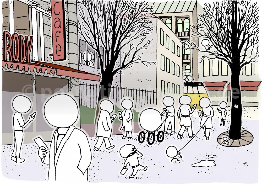 Die Illustration zeigt eine Strassenszene in einer Großstadt, in der alle Passanten auf ihre Smartphones schauen und statt Köpfen und Gesichter mit Glaskugeln ausgestattet sind.