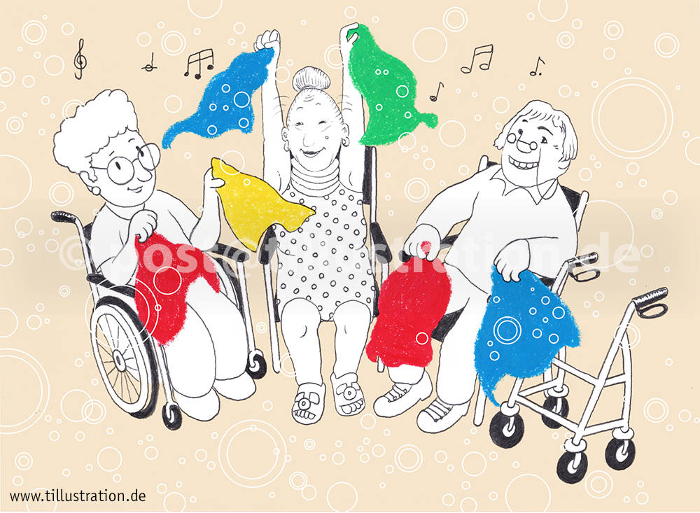 Drei Senioren führen im Sitzen mit Tüchern vergnügt einen Sitztanz vor.