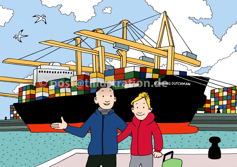 Eine Illustration zu einem Reisebericht von einem Vater mit seinem Sohn