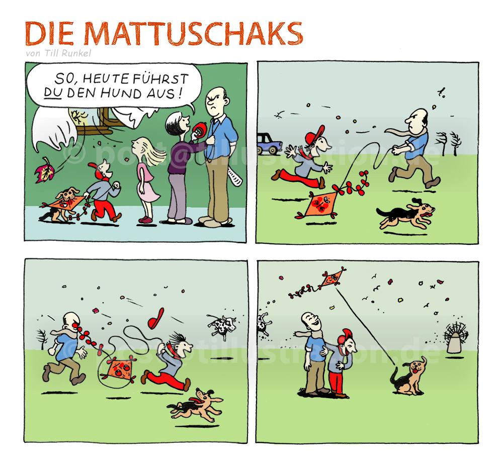 Die Mattuschaks und der Drache: Vater Mattuschak geht mit seinem Sohn und den Hunden spazieren.