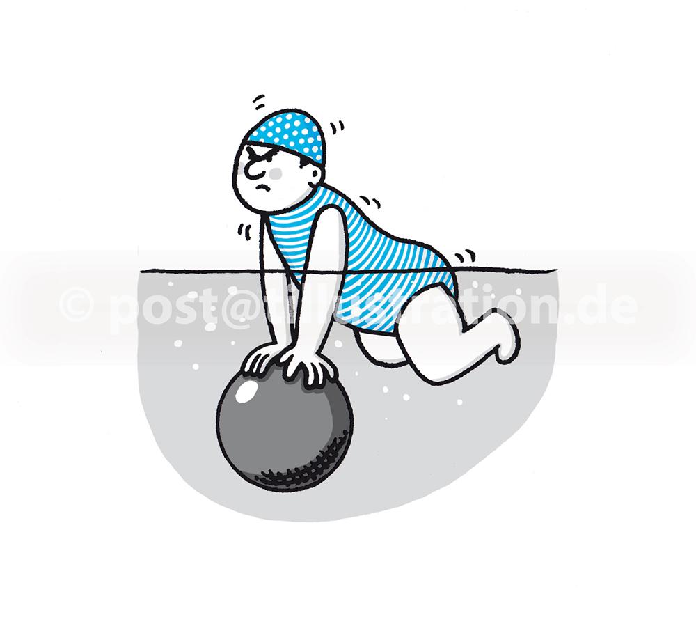 Es ist mühsam einen mit Luft gefüllten Ball unter Wasser zu halten.
